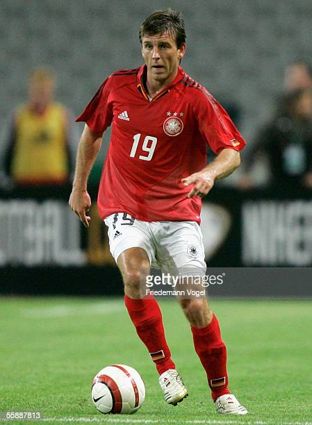 Bernd Schneider of Germany in action during the friendly match between Turkey and Germany at the Ataturk Olympic Stadium on October 8 2005 in...