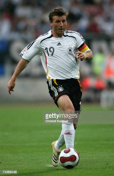 Bernd Schneider of Germany runs with the ball during the UEFA EURO 2008 qualifier between Germany and San Marino at the Easy Credit stadium on June...