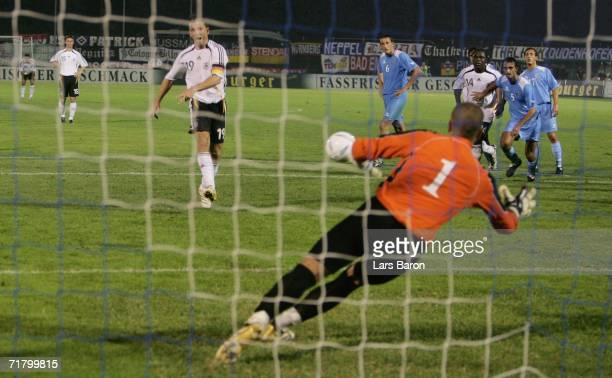 Bernd Schneider of Germany scores the last goal during the UEFA EURO 2008 qualifier between San Marino and Germany at the Olimpico Stadium on...