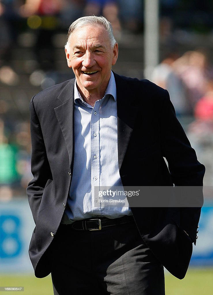 Bernd Schroeder, head coach of Potsdam smiles after the Women's Bundesliga match between 1. FFC Turbine Potsdam and VfL Wolfsburg on May 5, 2013 in Potsdam, Germany.
