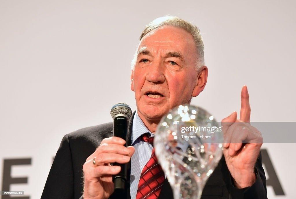 Bernd Schroeder, the former head coach of the women's team of 1.FFC Turbine Potsdam get the DFB coach lifetime award 2016 on March 20, 2017 in Neu Isenburg, Germany.