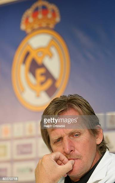 Bernd Schuster coach of Real Madrid looks on during a news conference prior to their friendly match against the Bundesliga team of Eintracht...