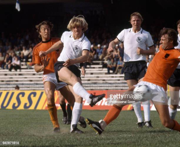 Bernd Schuster of West Germany takes a shot during the UEFA Euro 1980 group game between West Germany and the Netherlands at the Stadio San Paolo on...