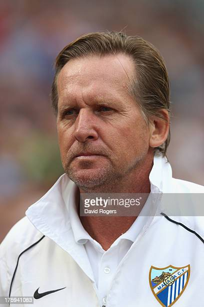 Bernd Schuster the Malaga manager looks on during a Pre Season Friendly between Aston Villa and Malaga at Villa Park on August 10 2013 in Birmingham...