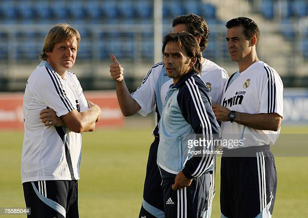Bernd Schuster with his assistants during a Real Madrid training session at Real's Valdebebas sports facility on July 21, 2007 in Madrid, Spain