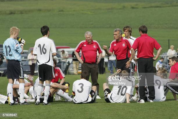 Bernd Stoeber coach of Germany gives instructions to his players during the UEFA Under 17 European Championship match for third place between Germany...