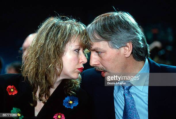 Bernd Toennies President of FC Schalke 04 and his Wife Evi are seen during the FC Schalke 04 annual general meeting on February 08 1994 in...