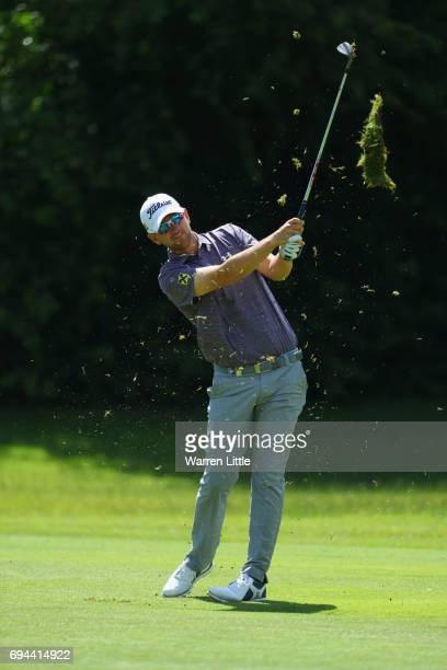 Bernd Weisberger of Austria plays his second shot on the 3rd hole during day three of the Lyoness Open at Diamond Country Club on June 10 2017 in...