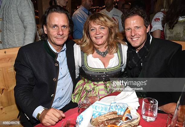 Bernd Werndl Alexandra Schoerghuber and Helmut Kaes attend the Radio Gong 963 Wiesn at Weinzelt during Oktoberfest at Theresienwiese on September 24...