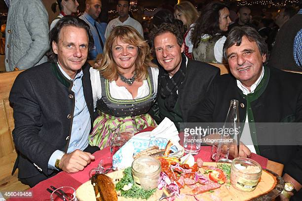 Bernd Werndl Alexandra Schoerghuber Helmut Kaes and Peter Pongratz attend the Radio Gong 963 Wiesn at Weinzelt during Oktoberfest at Theresienwiese...