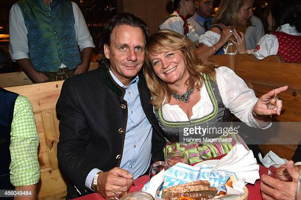 Bernd Werndl and Alexandra Schoerghuber attend the Radio Gong 963 Wiesn at Weinzelt during Oktoberfest at Theresienwiese on September 24 2014 in...