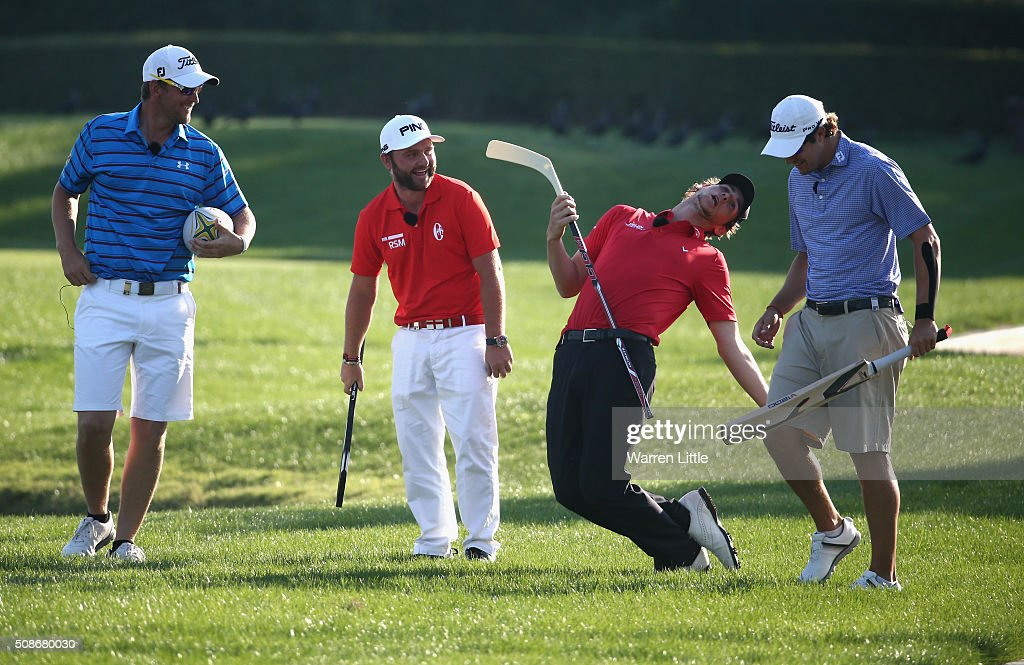 Bernd Wiesberger of Austria, Andy Sullivan of England, Thomas Pieters of Belgium and Peter Uihlein of the USA take part in the All Sports Challenge on the Faldo Course ahead of the Omega Dubai Desert Classic at Emirates Golf Club on February 2, 2016 in Dubai, United Arab Emirates.