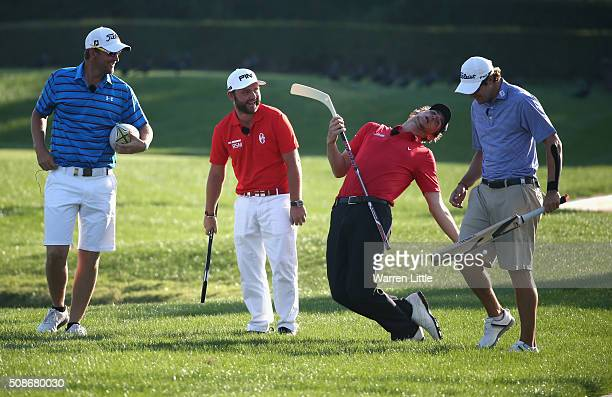 Bernd Wiesberger of Austria Andy Sullivan of England Thomas Pieters of Belgium and Peter Uihlein of the USA take part in the All Sports Challenge on...