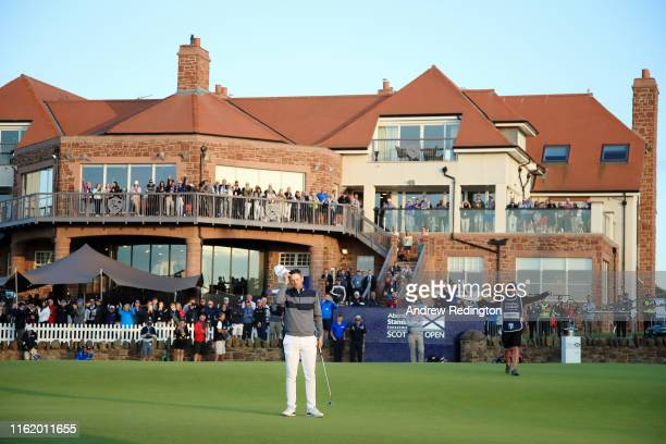 Bernd Wiesberger of Austria celebrates victory during the final round of the Aberdeen Standard Investments Scottish Open at The Renaissance Club on...