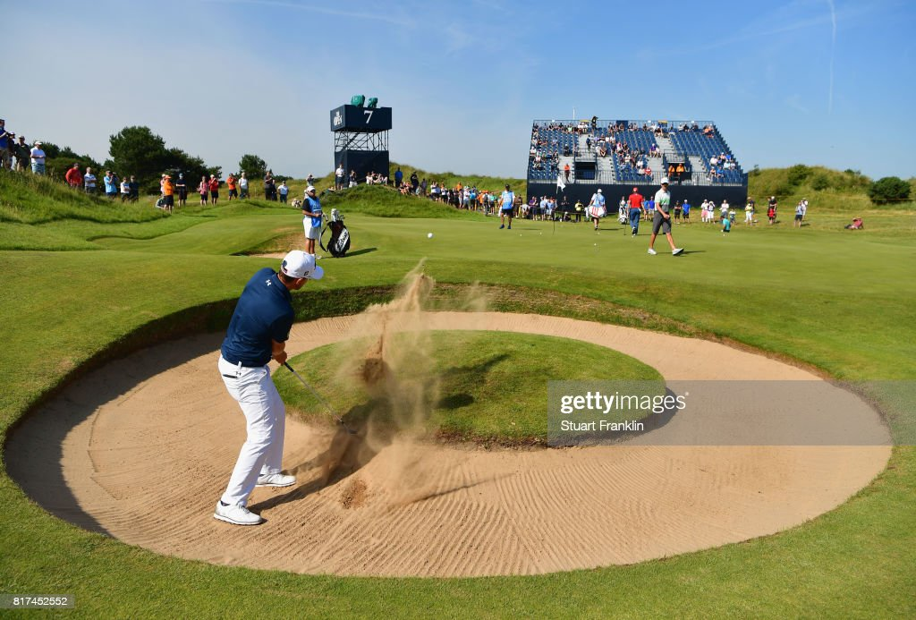 Bernd Wiesberger of Austria hits a bunker shot on the 7th hole during a practice round prior to the 146th Open Championship at Royal Birkdale on July 18, 2017 in Southport, England.