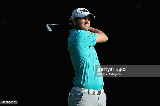 Bernd Wiesberger of Austria hits his second shot on the 13th hole during the second round of the 72nd Open d'Italia at Golf Club Milano on September...