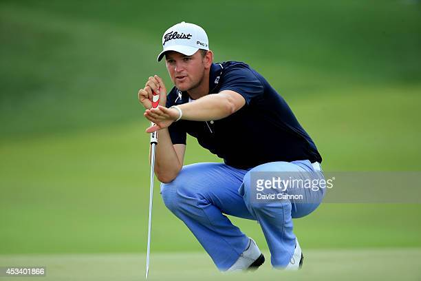 Bernd Wiesberger of Austria lines up his putt on the seventh green during the third round of the 96th PGA Championship at Valhalla Golf Club on...