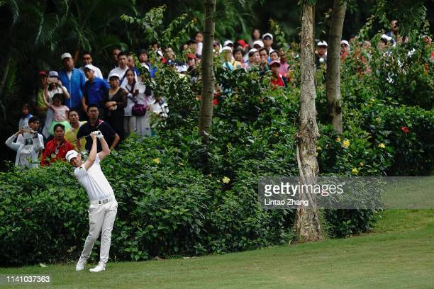 Bernd Wiesberger of Austria plays a shot during day three of the 2019 Volvo China Open at Genzon Golf Club on May 4 2019 in Shenzhen China