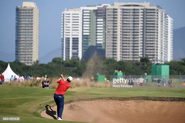 Bernd Wiesberger of Austria plays a shot during the final round of men's golf on Day 9 of the Rio 2016 Olympic Games at the Olympic Golf Course on...