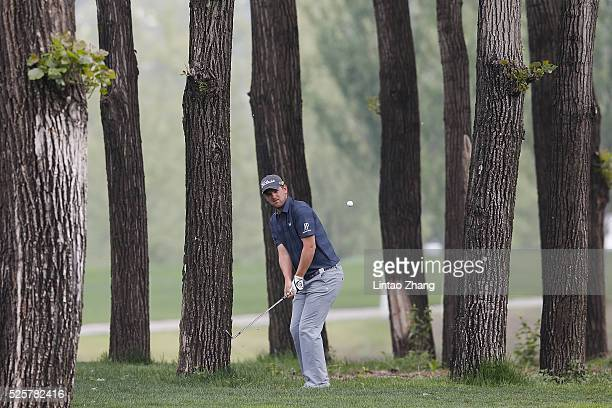 Bernd Wiesberger of Austria plays a shot during the second round of the Volvo China open at Topwin Golf and Country Club on April 28 2016 in Beijing...