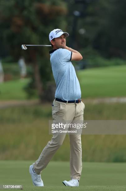 Bernd Wiesberger of Austria plays a shot on the 13th hole during the final round of The RSM Classic at the Seaside Course at Sea Island Golf Club on...