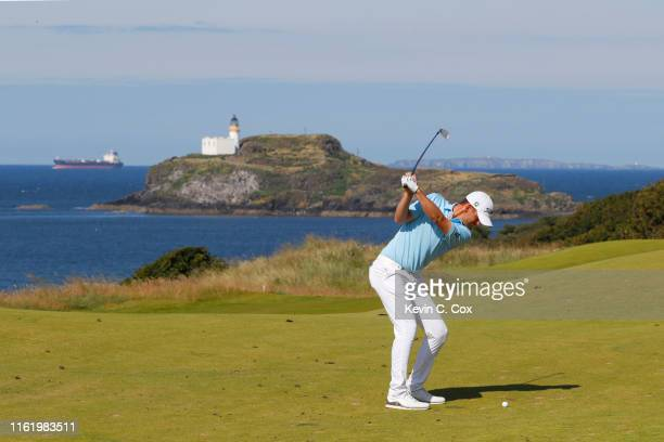 Bernd Wiesberger of Austria plays a shot on the 4th hole during the final round of the Aberdeen Standard Investments Scottish Open at The Renaissance...