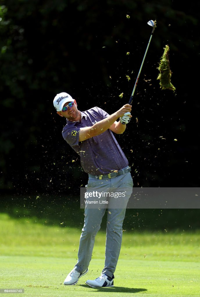 Bernd Wiesberger of Austria plays his second shot into the third green during the third roud of the Lyoness Open at Diamond Country Club on June 10, 2017 in Atzenbrugg, Austria.