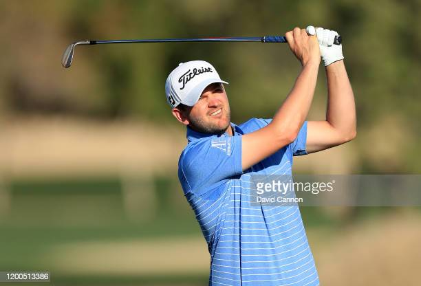 Bernd Wiesberger of Austria plays his second shot on the 16th hole during the final round of the Abu Dhabi HSBC Championship at Abu Dhabi Golf Club...