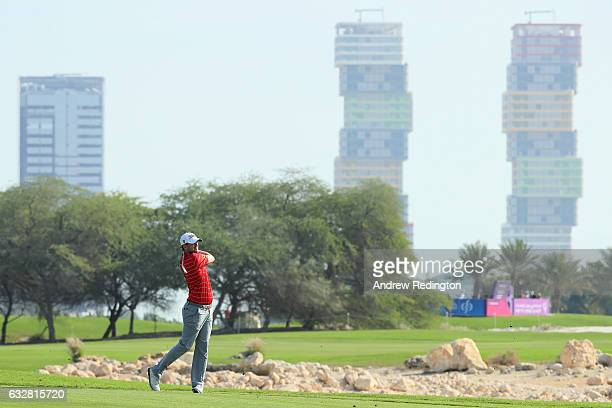 Bernd Wiesberger of Austria plays his second shot on the 18th hole during the second round of the Commercial Bank Qatar Masters at the Doha Golf Club...