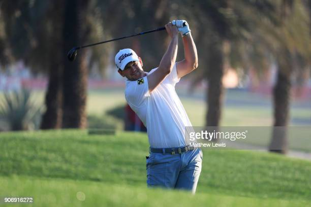 Bernd Wiesberger of Austria plays his second shot on the tenth hole during round two of the Abu Dhabi HSBC Golf Championship at Abu Dhabi Golf Club...
