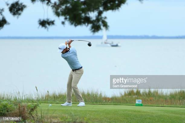 Bernd Wiesberger of Austria plays his shot from the 14th tee during the final round of The RSM Classic at the Seaside Course at Sea Island Golf Club...