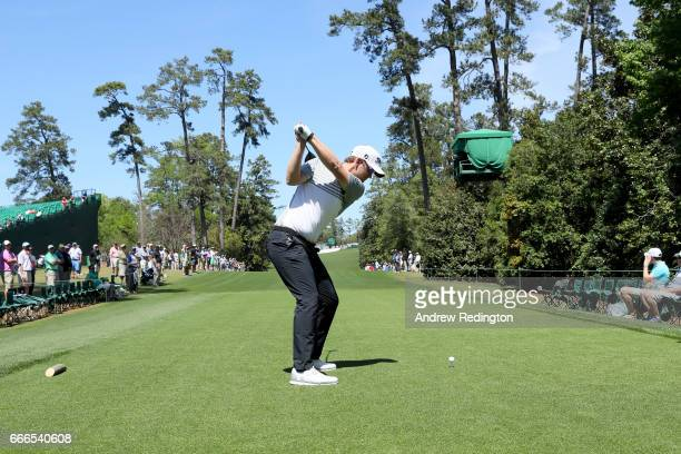 Bernd Wiesberger of Austria plays his shot from the 18th tee during the final round of the 2017 Masters Tournament at Augusta National Golf Club on...