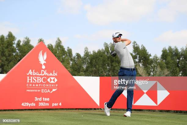 Bernd Wiesberger of Austria plays his shot from the third tee during round one of the Abu Dhabi HSBC Golf Championship at Abu Dhabi Golf Club on...