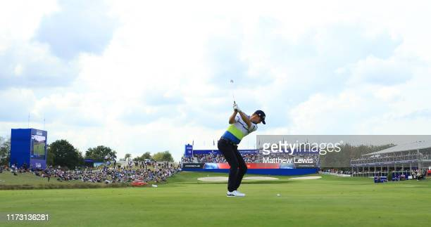 Bernd Wiesberger of Austria plays on the 18th hole during Day 4 of the Porsche European Open at Green Eagle Golf Course on September 08 2019 in...