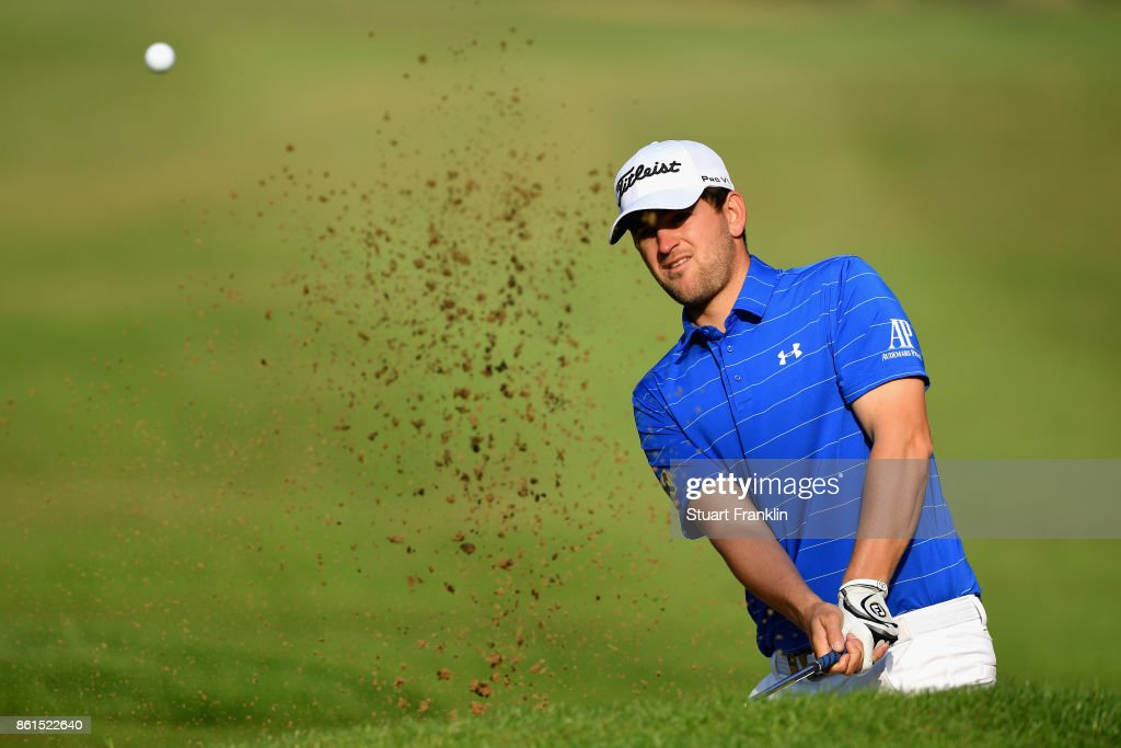 Bernd Wiesberger of Austria plays out of a bunker during the final round of the 2017 Italian Open at Golf Club Milano - Parco Reale di Monza on October 15, 2017 in Monza, Italy.
