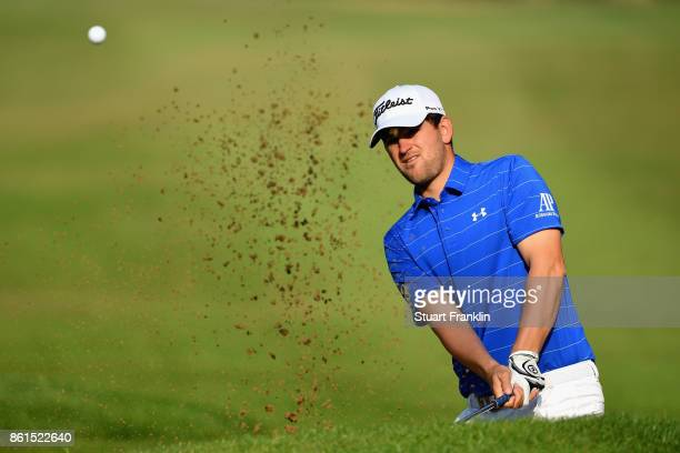 Bernd Wiesberger of Austria plays out of a bunker during the final round of the 2017 Italian Open at Golf Club Milano Parco Reale di Monza on October...