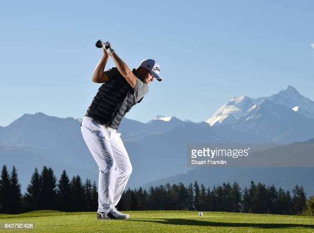 Bernd Wiesberger of Austria poses for a picture during practice prior to the start of the Omega European Masters at CranssurSierre Golf Club on...