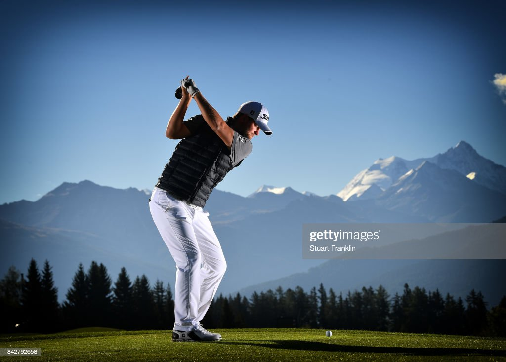 MONTANA, SWITZERLAND - (EDITORS NOTE; This image was processed using digital filters.) SEPTEMBER 05: Bernd Wiesberger of Austria poses for a picture during practice prior to the start of the Omega European Masters at Crans-sur-Sierre Golf Club on September 5, 2017 in Crans-Montana, Switzerland.