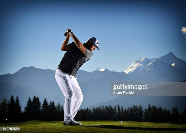 MONTANA SWITZERLAND SEPTEMBER 05 Bernd Wiesberger of Austria poses for a picture during practice prior to the start of the Omega European Masters at...