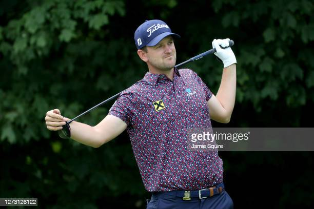 Bernd Wiesberger of Austria reacts to his shot from the 12th tee during the first round of the 120th U.S. Open Championship on September 17, 2020 at...