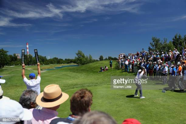 Bernd Wiesberger of Austria tees off on the first hole during the second round of the Lyoness Open at Diamond Country Club on June 9 2017 in...