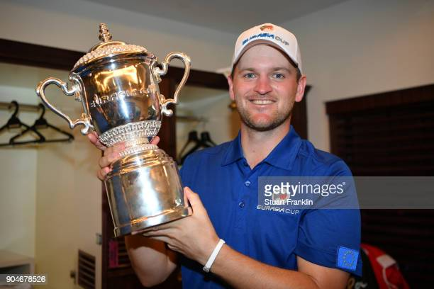 Bernd Wiesberger of Europe poses with the trophy following his team's victory during the singles matches on day three of the 2018 EurAsia Cup...