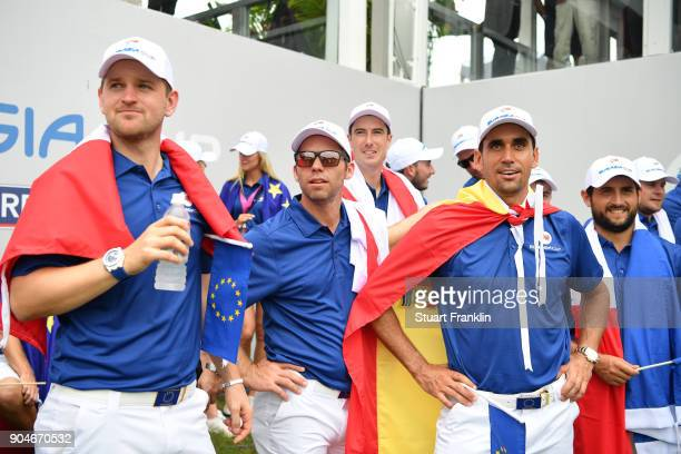 Bernd Wiesberger Paul Casey Ross Fisher Rafa CabreraBello and Alexander Levy of Europe look on during the singles matches on day three of the 2018...