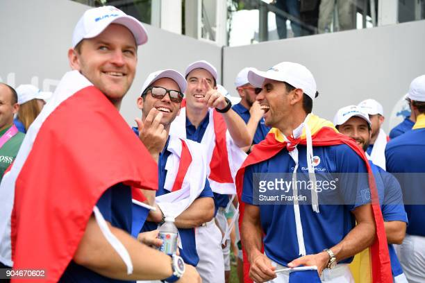 Bernd Wiesberger Paul Casey Ross Fisher Rafa CabreraBello and Alexander Levy of Europe react during the singles matches on day three of the 2018...
