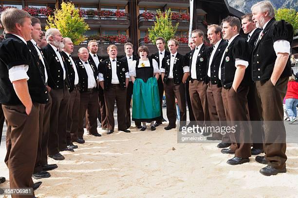 bernese jodler choir sings at lenk aelplerfest - harvest festival stock pictures, royalty-free photos & images