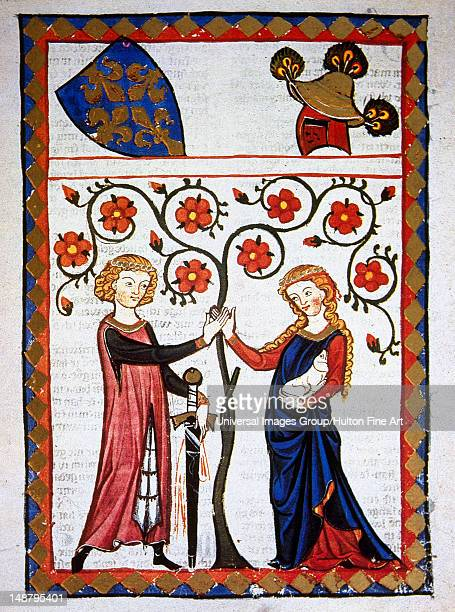 Bernger Von Horheim German poet of the court of Henry IV The poet with his beloved holding a dog in her lap a symbol of fidelity Fol 178rCodex...
