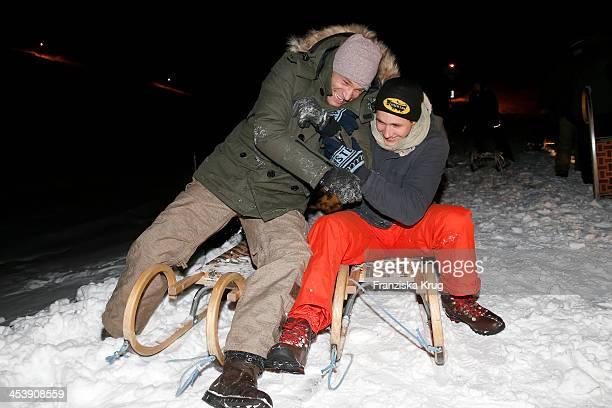 Bernhard Bettermann and Luca Bettermann attend the Snowshoe Hiking And Slide Tour - Tirol Cross Mountain 2013 on December 05, 2013 in Innsbruck,...
