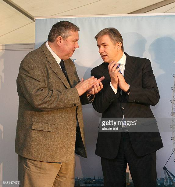 Bernhard Blaszkiewitz Director of the two Berlin Zoos Germany with Klaus Wowereit Politician Mayor of Berlin SPD Germany