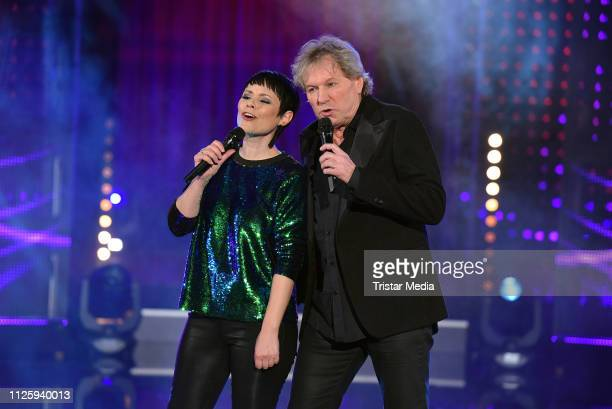 Bernhard Brink and Francine Jordi perform the 'Meine Schlagerwelt Die Party mit Ross Antony' MDR TV show recording at Eventpalast on February 19 2019...