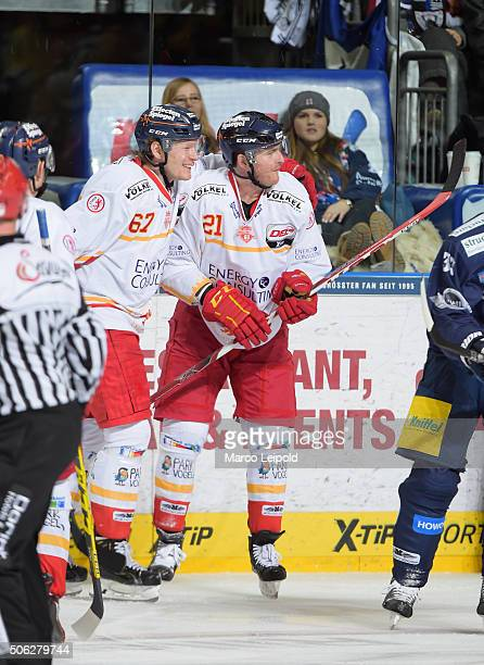 Bernhard Ebner and Chris Minard of the Duesseldorfer EG during the DEL game between the Eisbaeren Berlin and Duesseldorfer EG on January 22 2016 in...